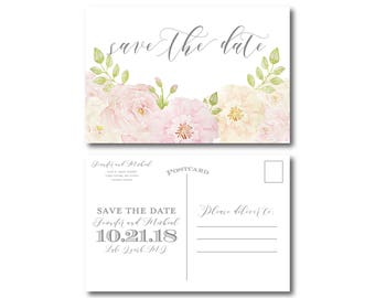 Floral Save the Date Postcard, Printable Save the Date, Wedding Save the Date, Save-the-Date, Wedding Postcard, Save our Date #CL215