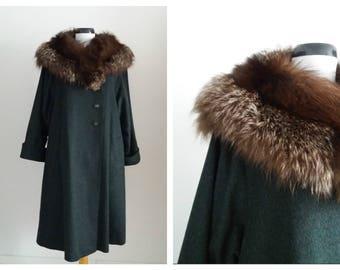 Vintage 1960s wool & fox collar coat | 60s wool coat | 1960s fox fur collar coat