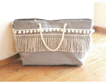 Breeze. Summer Large Tote. Beach Bag. Summer Bag. Boho Bag. Canvas Bag. Beach Tote. Pom Pom Bag. Canvas Tote. Fringe Bag Tote. Bohemianchic