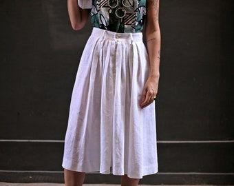 Vintage Guy Laroche linen pleated skirt