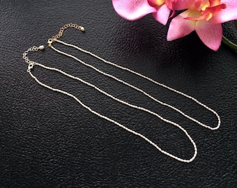 Semi Knotted Natural Creamy White Fresh Water Rice Seed Pearl Necklace