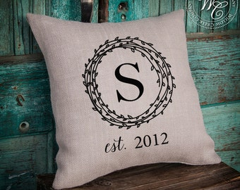 Monogram Pillow, Monogrammed Gift, Burlap Pillow Cover, Personalized Wedding Gift, Pillow Cover with Couples Name &  Established Date,