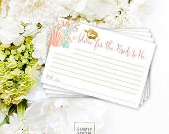 INSTANT DOWNLOAD Bridal Shower Advice Card - Under the Sea Mermaid Bridal Shower Printable Advice for the Bride to be Card Wedding Shower