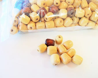 Vintage Wood Beads by the Bag of 250 Mix   1980s