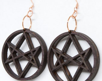 Unicursal Hexagram Earrings - Thelema Occult Wooden Earrings / Pendant (handmade and painted from birch)