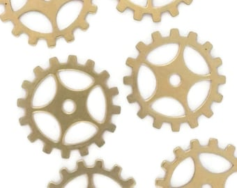 50off Steampunk Gears Raw Brass Gold 24 Gauge Assemblage Altered Art Lot 19mm- Qty 6 Made in the USA