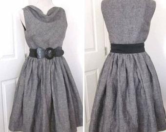 Vintage Style Dress - 1960s Dress - Linen Dress -  Cowl Neck Dress - Gathered Skirt Dress - Classic Mid Century Modern Dress - Retro Style