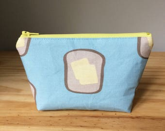 Extra Small Makeup Bag, Buttered Toast, Butter Toast Makeup Bag, Toast Makeup Bag, Toast Notions Bag, Sugar City Collection