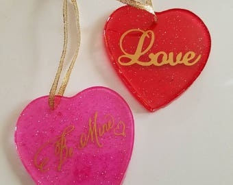 "Handmade Valentine's day  ornaments or suncatchers - ""Love"" and ""Be Mine"" hearts - purchase individually or as a package"