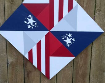Patriotic Barn Quilt, Patriotic Fence Decor          Shipping included in the price