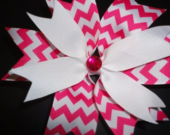 Pink and White layered Hair Bow