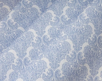 Fabric polyester cotton white ornament light blue fine-painted easy care