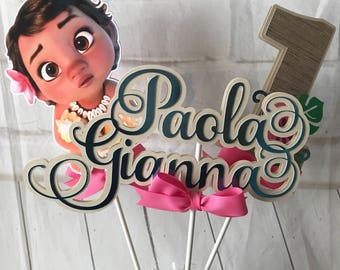 Baby Moana centerpiece,Moana cake topper,Moana party, Baby Moana birthday party, Moana tableware, Moana table decor, Moana party decorations