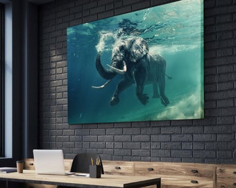 Elephant Swimming Canvas Set | Animal Canvas Set | Animal Wall Decor | Ocean Canvas Set | Ocean Wall Decor | gift for him | gift for her