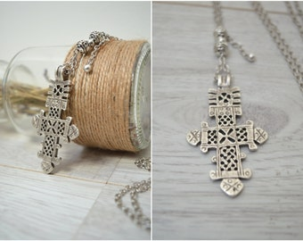 African Ethiopian Coptic Cross Necklace, African Jewelry, Ethnic Tribal Necklace, Large Pendant Amulet Necklace, Handmade Jewelry
