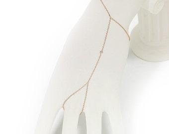 Hand Chain Diamond Bracelet, 14K Rose Gold Slave Bracelet