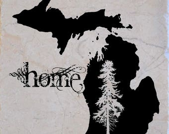 "Set of 4 ""Michigan Home"" Coasters.  Free Shipping"