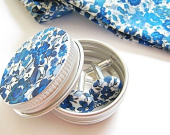 Custom Liberty London Fabric Wedding Cufflinks for Men and Women. Pick your Liberty fabric. Wedding Party Favours and Gifts.