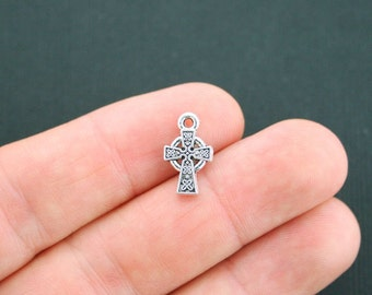 12 Celtic Cross Charms Antique Silver Tone 2 Sided - SC4992