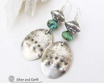 Argent sterling boucles d'oreilles, boucles d'oreilles Turquoise africaines, Unique main bijoux en argent, boucles d'oreilles bohèmes, Boho Chic, bijoux Tribal