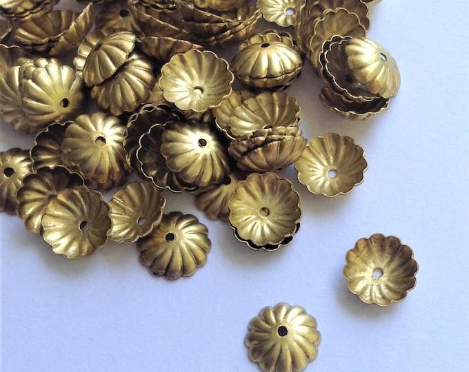 CLOSEOUT - Bead Cap, 9mm, Antique Brass - 100 Pieces (BCB-09)