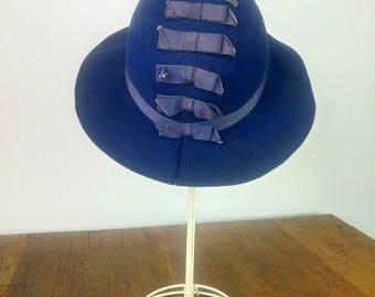 Vintage 40s blue wool Fedora hat brim hat