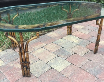 ON HOLD --Gold Gilt Faux Bamboo Coffee Table | Hollywood Regency