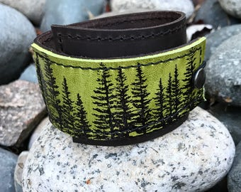 Leather Cuff Bracelet Wrap, Wilderness Pine Tree Print in Brown & Green * SALE * Coupon Codes