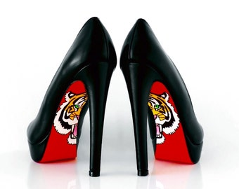 Hand painted Shoes - Heels - Red bottom Shoes With Tiger Design - Hand Painted Heels - Womens shoes - Gift for her - Womens custom shoes