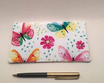 Checkbook Cover, Checkbook Cover For Duplicate Checks,  Butterflies Checkbook Cover, Checkbook Cover for Women, L Miller Creations,