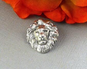 Antique SIlver Lions Head Tie Pin Zodiac Leo Tie Tack Pin  Vintage Inspired