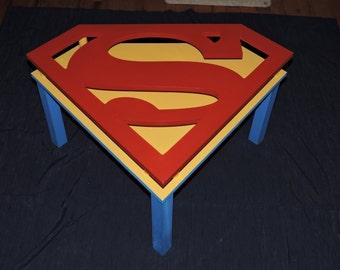 Handmade Superman End Table - DC Comics Man of Steel Smallville Superman Shield Man Cave