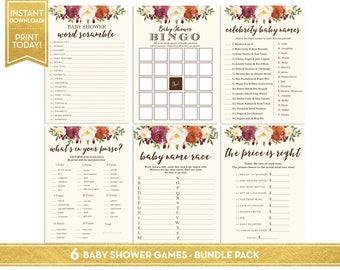 Fall Floral Baby Shower Games Bundle Pack - Baby Shower Games Instant Download - Baby Shower Game Set Printable - LR1086