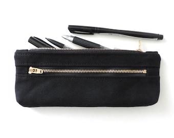 Pencil Case Double Zipper Pencil Pouch Black Canvas