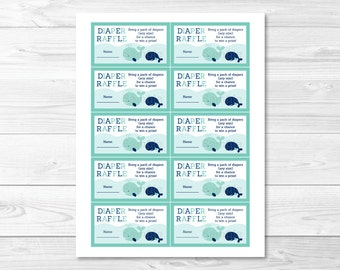 Whale Diaper Raffle Tickets / Whale Baby Shower / Baby Shower Raffle / Baby Boy / Printable INSTANT DOWNLOAD A236