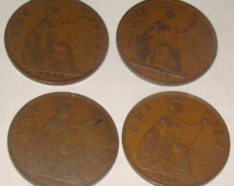 SALE 4 Large Penny's from Great Britian 1920's and 30's