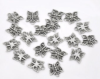10 pieces Antique Silver Butterfly Charms