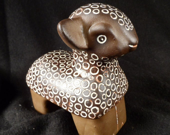 Sheep Figurine-Brown Pottery Sheep-Terracotta Sheep made in USSR by TEKT-Handmade Lamb Pottery Figure