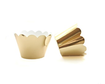 12 Gold Mirror Scallop Cupcake Wrappers - Cupcake Liners, Cupcake Cases, Cupcake Wrapper, Muffin Cups, Muffin Wrappers