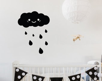 Happy Rainy Cloud - Cute Baby Nursery Wall Decal / Wall Decor - WAL-2350