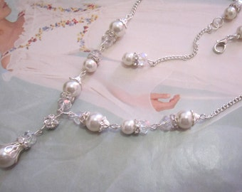 Vintage Style Bridal Necklace Ivory Pearl and Rhinestone Necklace Victorian Pearl Drop Necklace Crystal Bridal Wedding Jewelry