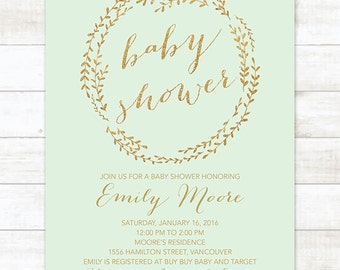 Mint Gold Baby Shower Invitation, Baby Shower Invitation Printable, Gender Neutral Baby Shower Invitation, Mint Gold Baby Shower Invite