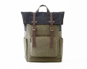 Laptop Backpack, Backpack, School bag, College backpack, Canvas Backpack, Backpack men, Bag women, Travel Backpack, GREEN CANVAS / CITYCARRY