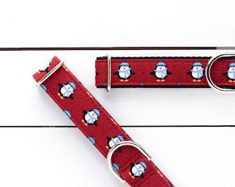 Cozy Penguins Dog Collar - Dog Collar - Unisex Dog Collar - Festive - Winter - Holiday Season - Martingale Chain Collar