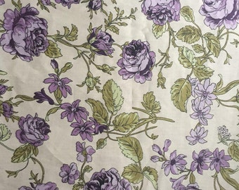 Fabric Cotton Sateen Purple Rose