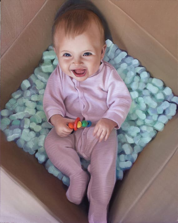 CUSTOM PORTRAIT - Oil Painting - Custom Painting - Baby Portrait - Baby Painting