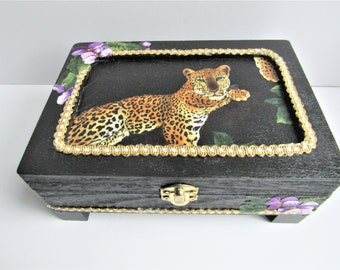 Leopard Box, Mens Storage Box, Handcrafted Box, Boy Box, Dresser Decor, Watch Box, Desk Storage