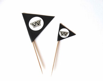 Golf Flag Cupcake Toppers, decorated toothpicks, custom logo added to picks, golf theme party, birthday party, golf theme wedding