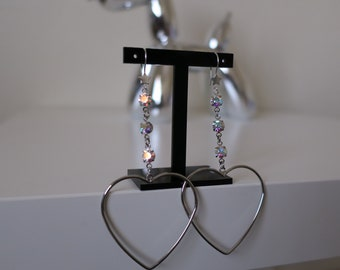 Celestial Heart Hoop earrings-Aurora Borealis Swarovski gems, star earrings