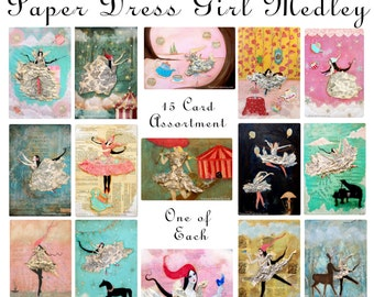 Paper Dress Girl Card Medley - 15 Postcard Set